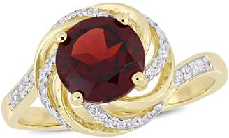 Concerto Silver Gemstone Sterling Silver Cocktail Ring with Garnet, White Topaz, and 0.04 CT. T.W. Diamonds