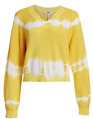 MSGM Women's V-Neck Tie-Dye Knit Sweater