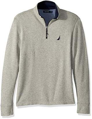 Nautica Men's Long Sleeve Half Zip Mock Neck Sweatshirt