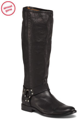 Pull On Tall Leather Riding Boots