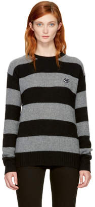 McQ Grey and Black Punk Stripe Swallow Badge Sweater