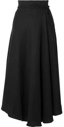 Apiece Apart Rosehip Tencel And Linen-blend Wrap Skirt - Black