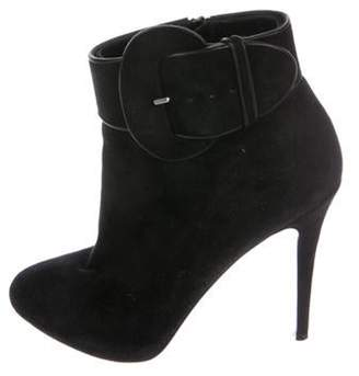 Christian Louboutin Suede Pointed-Toe Ankle Boots Black Suede Pointed-Toe Ankle Boots