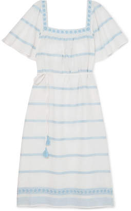 Tory Burch Embroidered Linen And Cotton-blend Gauze Dress - Ivory