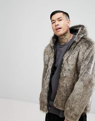 Asos DESIGN faux fur bomber with hood in stone