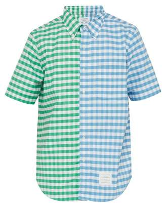 Thom Browne Gingham Panelled Cotton Shirt - Mens - Blue