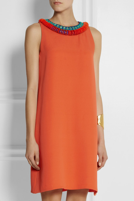 Issa Embellished silk-crepe dress