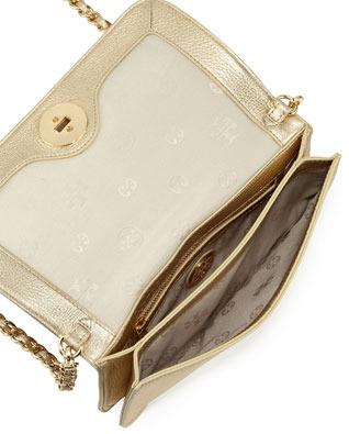 Tory Burch Adalyn Metallic Clutch Bag, Gold