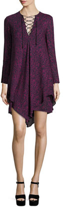 Derek Lam 10 Crosby Long-Sleeve Lace-up Swing Dress, Midnight/Multicolor $595 thestylecure.com