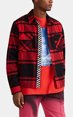Off-White Men's Logo Checked Cotton-Blend Flannel Shirt - Red
