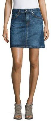 AG The Ali A-Line Denim Skirt, Indigo Plain Skirt $178 thestylecure.com