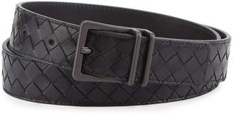 Bottega Veneta Men's Intrecciato Calf Leather Belt, Black