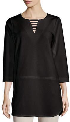Joan Vass 3/4-Sleeve Textured Lattice Tunic