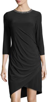 Chetta B 3/4-Sleeves Bead-Neck Draped Dress