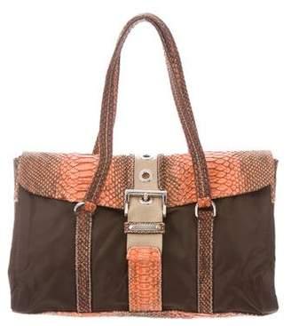 Prada Python-Trimmed Tessuto Shoulder Bag