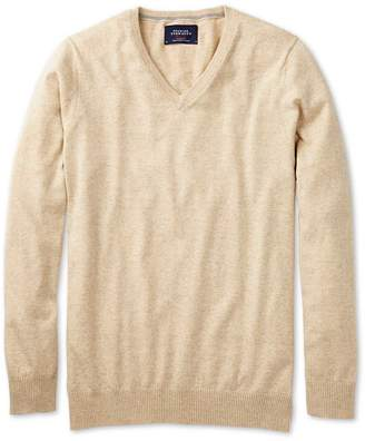 Charles Tyrwhitt Stone Cotton Cashmere V-Neck Cotton/Cashmere Sweater Size XXL