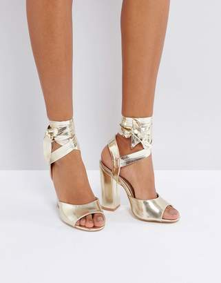 Lost Ink Metallic Gold Ankle Tie Heeled Sandals