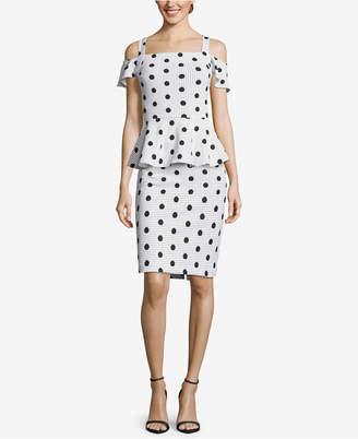 ECI Cold-Shoulder Polka-Dot Peplum Dress