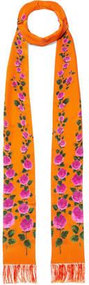 Gucci Fringed Floral-print Silk Scarf - Orange