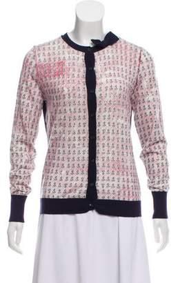 RED Valentino Printed Lightweight Knit Cardigan