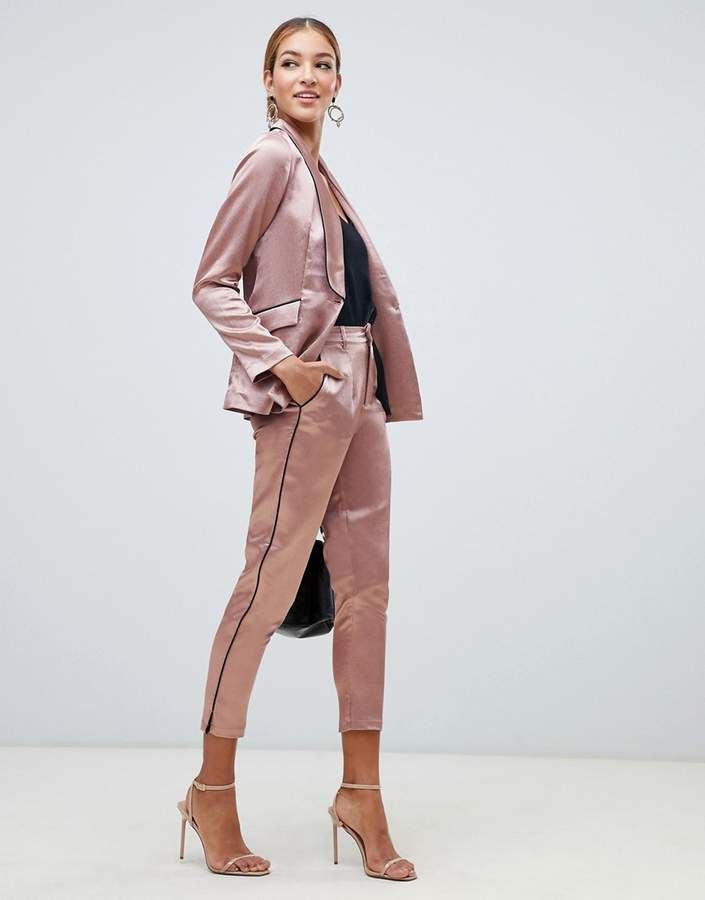 cigarette trouser with contrast piping in copper