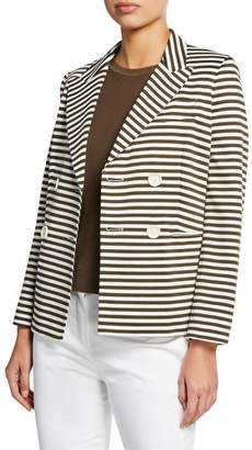 Max Mara Stallo Horizontal-Striped Double-Breasted Jacket