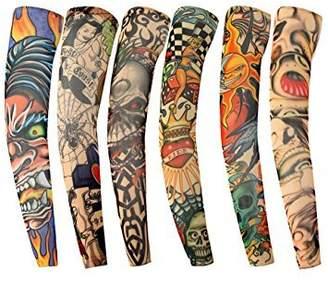 Orilife Fake Temporary Tattoo Sleeves Body Arm Stockings Accessories B (6pcs)