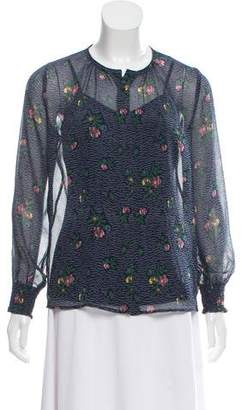 Band Of Outsiders Silk Floral Print Blouse