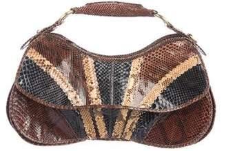 faab3740640 CNC Costume National Snakeskin Flap Handle Bag