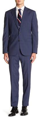 Ted Baker Jay Blue Windowpane Two Button Notch Lapel Wool Trim Fit Suit
