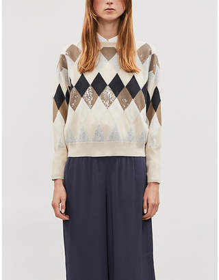 Brunello Cucinelli Sequin-embellished wool, cashmere and silk-blend jumper