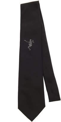 Alexander McQueen Dancing Skeleton Silk-Faille Tie