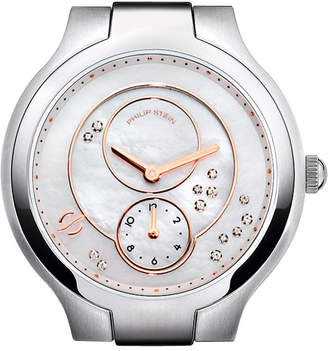 Philip Stein Teslar Stainless Steel Diamond Small Round Watch Head, Mother-of-Pearl/Rose Gold/White