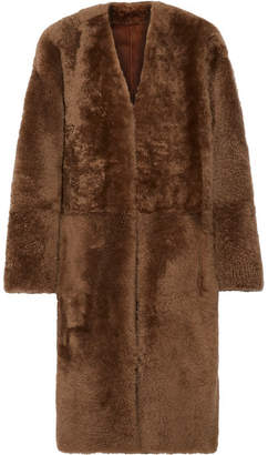 Vince Reversible Shearling And Nubuck Coat - Light brown