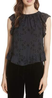 Joie Candida Silk Eyelet Top