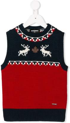 DSQUARED2 reindeer intarsia vest
