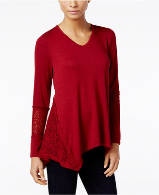 Style & Co. Crochet-Trim Asymmetrical Top, Only at Macy's $49.50 thestylecure.com