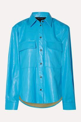 Cédric Charlier Faux Leather Shirt - Light blue