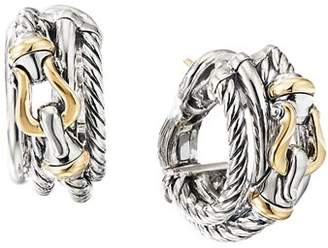 David Yurman Sterling Silver Buckle Shrimp Earrings with 18K Yellow Gold