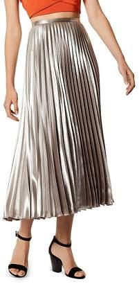 Karen Millen Metallic Pleated Midi Skirt
