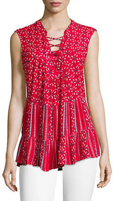 Style&Co. STYLE & CO. Printed Lace-Up Sleeveless Top