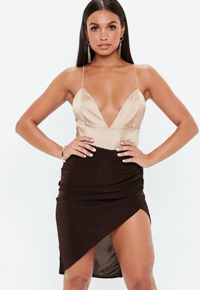 Missguided Brown Slinky Asymmetric Midi Skirt