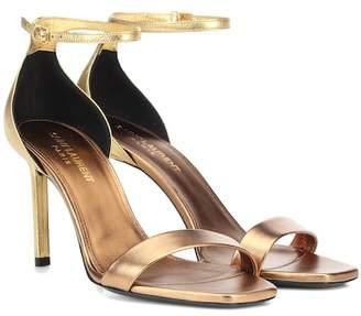 d386f2e8fb38 Saint Laurent Gold Metallic Leather Women s Sandals - ShopStyle