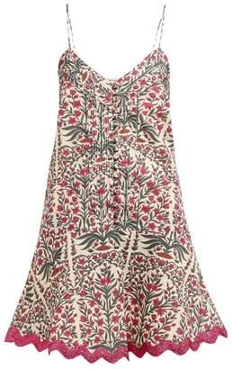 Juliet Dunn Floral Print Rick Rack Trim Cotton Mini Dress - Womens - Dark Pink