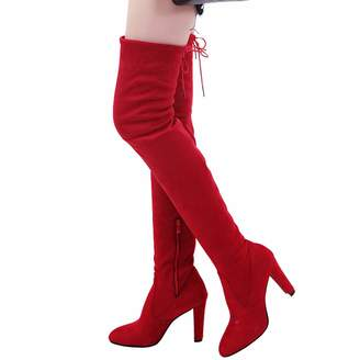 f8a4421453f DeerYou Women Over The Knee High Boots - Sexy Pointy Toe Suede Chunky Heel  Thigh High