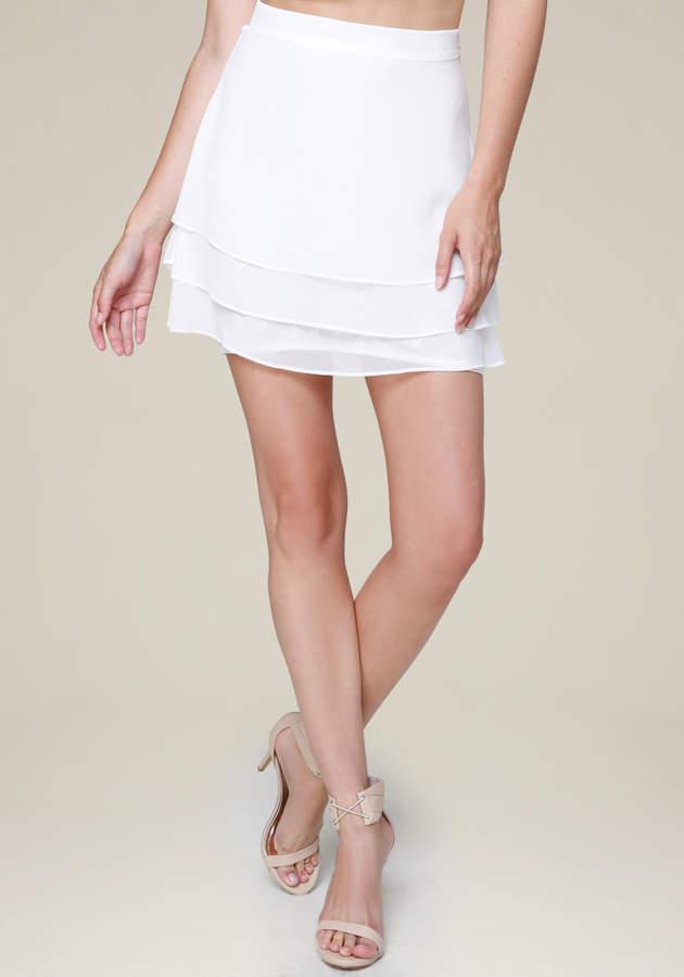 Lace Block Tiered Miniskirt
