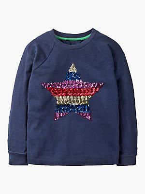 Boden Mini Girls' Sequin Star Sweatshirt, Navy