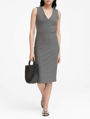 Banana Republic Petite Ponte V-Neck Sheath Dress