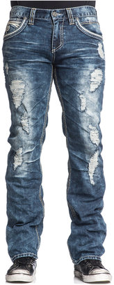 Affliction Men's Blake Fleur De Lis Relaxed-Fit Ripped Jeans, Bayside Wash $99 thestylecure.com