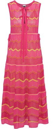 M Missoni Bow-Detailed Metallic Crochet-Knit Midi Dress